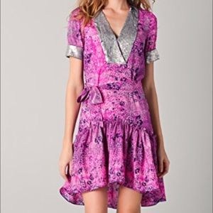 Gryphon Short Sleeve High Low Dress with Sequins